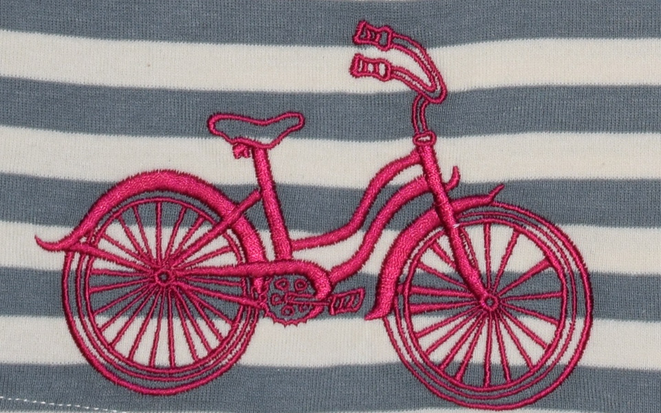 Pink bicycle embroidery