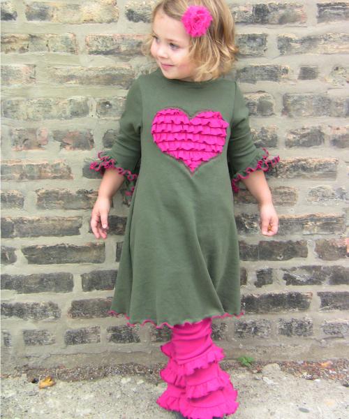Army green Ruffled Heart dress