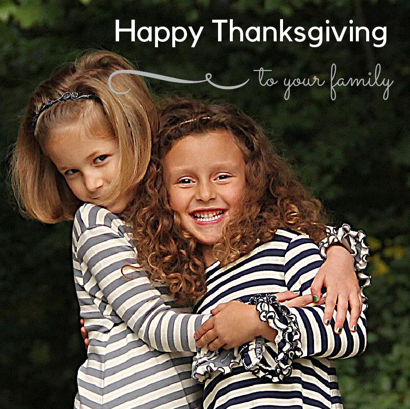 Happy Thanksgiving - girls hugging