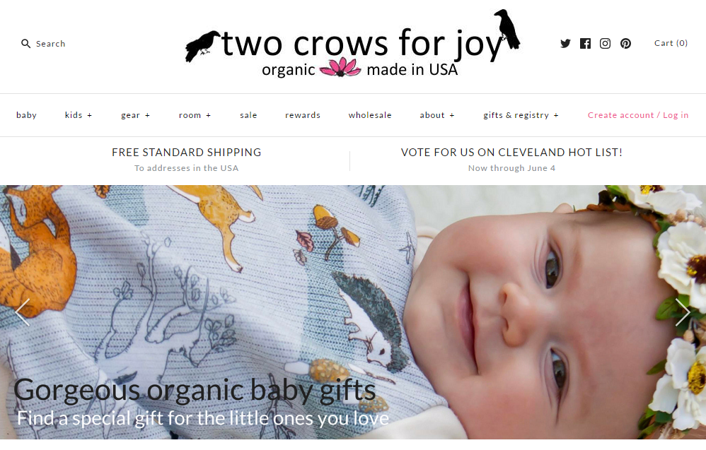 Two Crows for Joy organic baby clothes website